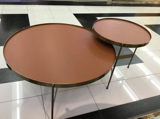 Modern Round Nesting Side Table Coffee Table with Metal Legs
