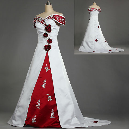Red And White Wedding Dress.W225 Off Shoulder Embroidery Satin White And Red Wedding Dresses With Flowers