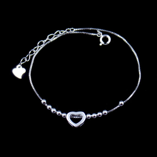 Fashion Heart Shaped Real Silver No Stone Bracelet for Girl Appointment pictures & photos