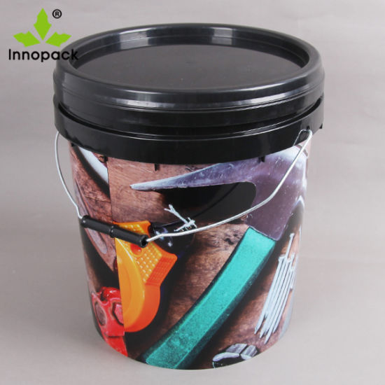 High Quality in Mold Label 20L Round Plastic Bucket with Lid and Metal Handle