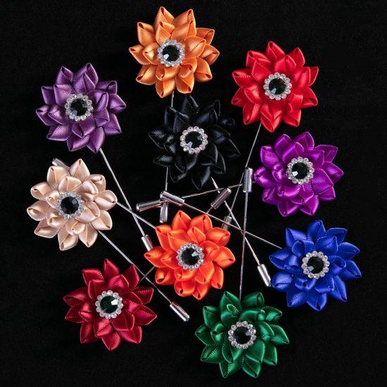 China Handmade Ribbon Fabric Lotus Flower Men Suit Brooch Pins