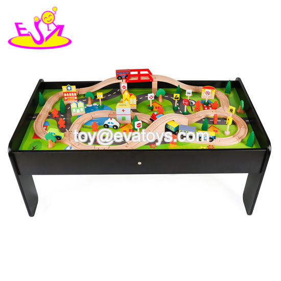 Customize Educational 90PCS Railway Toys Wooden Kids Train Set with Table W04c009b pictures & photos