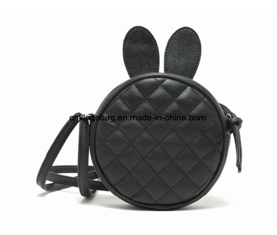 China PU Quilted Girls Cute Round Handbag with Two Ears at Top ...