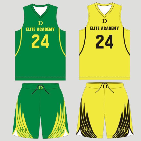 99856c17488 China Custom Polyester Sublimated Reversible Basketball Jersey Kids ...