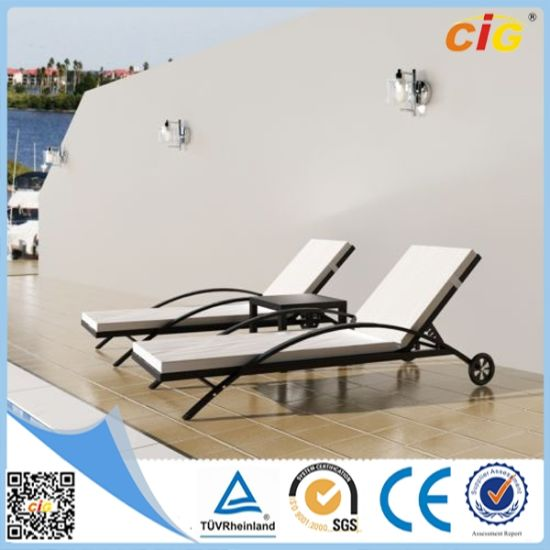 Different with Wheel Double Rattan Sunlounge Chair pictures & photos