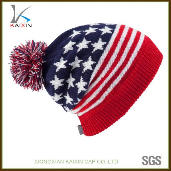 169f0ddbc00 China Custom USA Flag POM POM Winter Knitted Beanie Hat - China ...