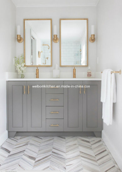 North America Hot Double Sink Solid Wood Bathroom Vanity pictures & photos
