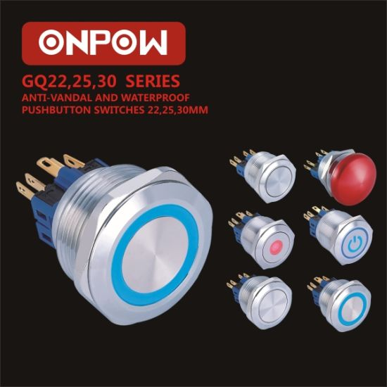 Onpow 22mm Push Button Switch (GQ22 series, CE, CCC, RoHS)