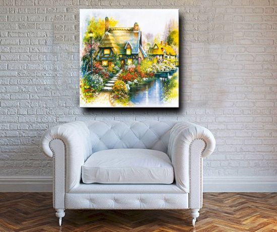 European Style Natural Scenery Flower Garden Artwork Wall Decor Canvas Oil Painting