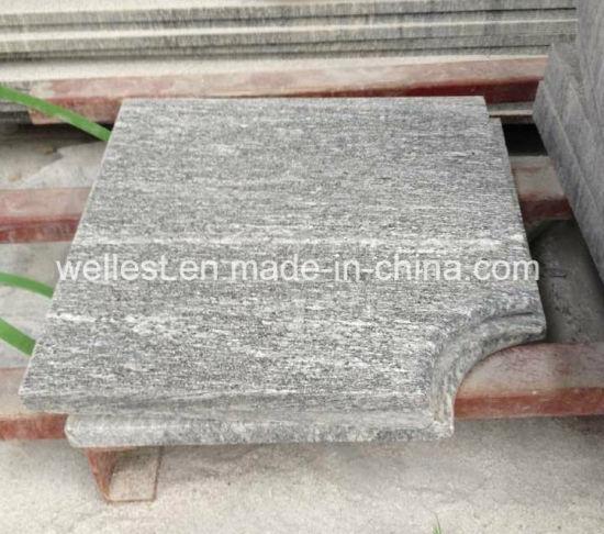 Flamed Grey Granite Tile Pool Coping Steps Bullnose Edge
