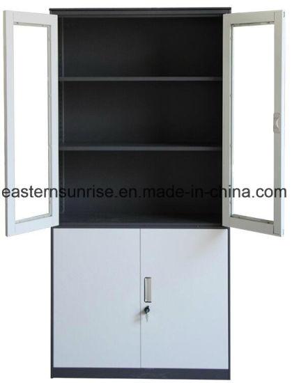 China Premium Fashion Style 4 Door Half Glass Metal Steel Iron