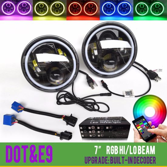 Multicolor Bluetooth Controll 7inch Round RGB Halo Ring Angel Eyes LED  Headlights for Jeep Wrangler
