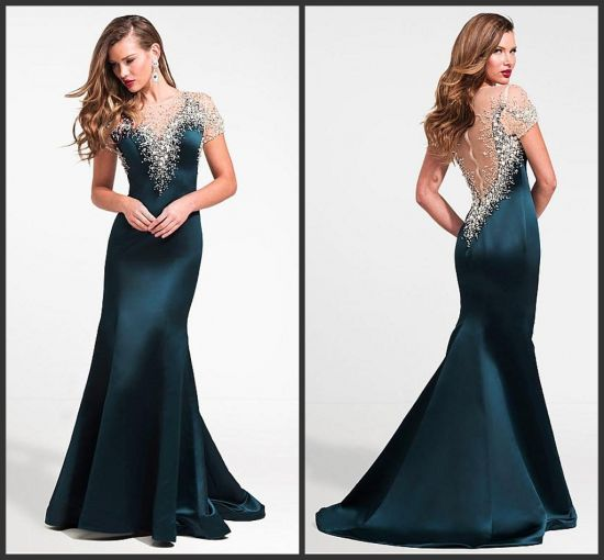 China Hunter Green Evening Party Gowns Beaded Mermaid Bridal Wedding