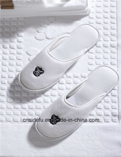 2cbce977e41b China Hot Sale Embroidered Logo Hotel Velour Slippers Wholesale ...