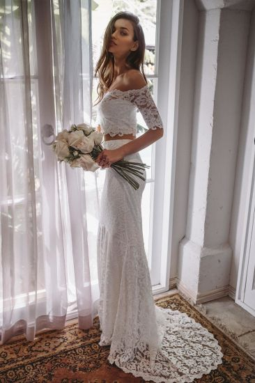Short Sleeves Bridal Gowns Lace Mermaid Beach Traveling Wedding Dress G17248 pictures & photos