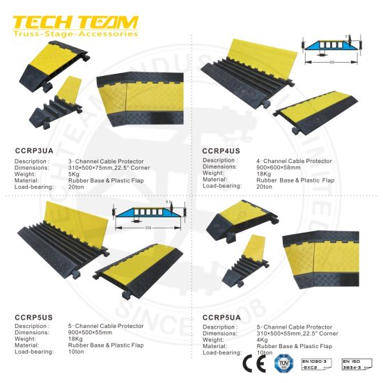 1-5 Channel Rubber Base and Plastic PVC Cable Protector