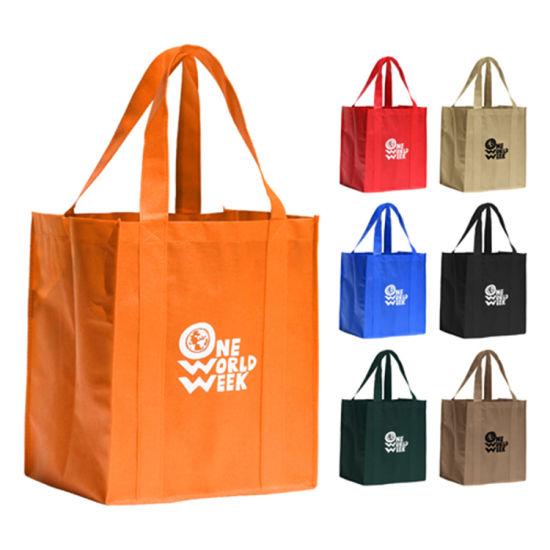 Cheap Promotional Eco Logo Printed Non Woven Supermarket Grocery Shopping Bag