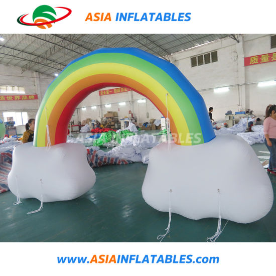 Outdoor Rainbow Colorful Advertising Inflatable Printed Air Arch Archdoor
