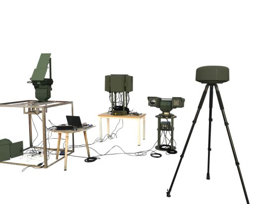 Counter-Drone Weapons with RF Detection, Radar Detection and RF Jamming for Drones