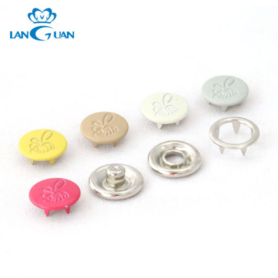 Cute Metal Capped Prong Snap Button for Baby Clothing