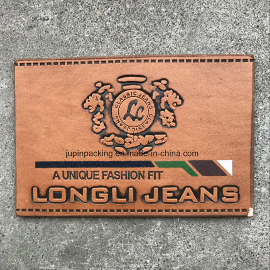 Custom Embossed Leather Label Jeans PU Leather Patch Tag Brown Garment Labels (wc-ll010) pictures & photos