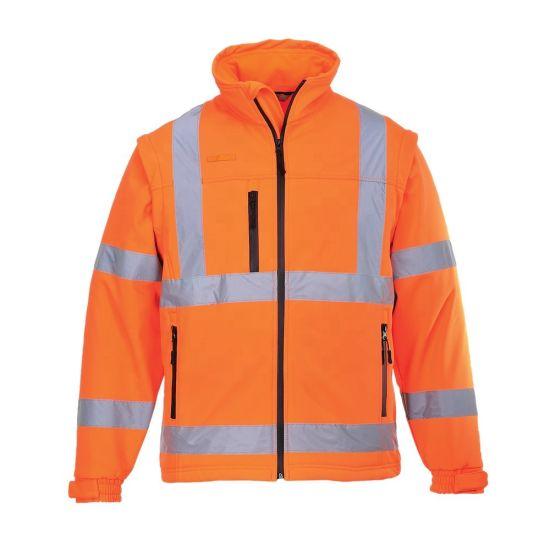 En20471 Class3 Waterproof Straight Collar Safety Reflective Softshell Reflective Jacket