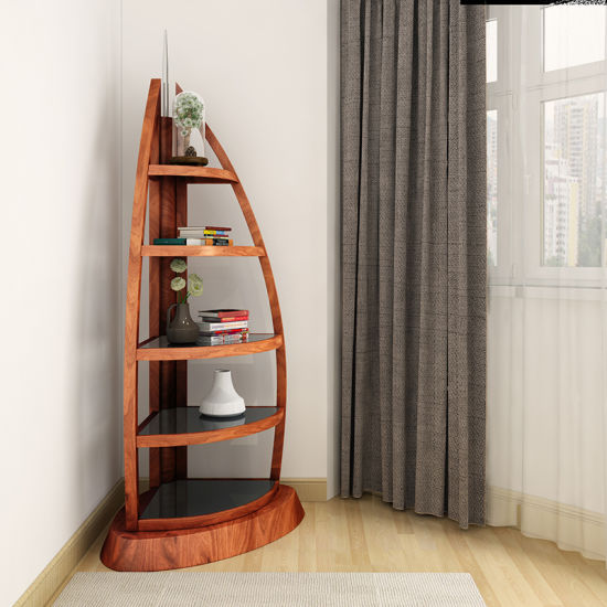 Boat Shaped Corner Book Shelf for Livingroom Furniture in Wooden pictures & photos
