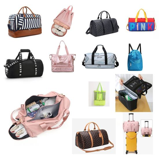 Outdoor Travel Backpack Yoga Sports Oxford Cloth Breathable Shoulder Handbag Has Shoe Compartment Storage Dry and Wet Separation PU Waterproof Gym Duffel Bag