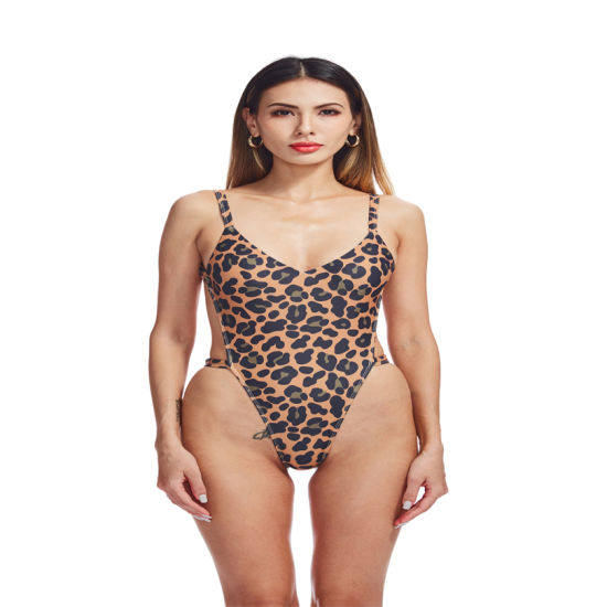 Leopard Print Sexy High Waist Backless Bikini Print for Women's One-Piece Designer Swimwear
