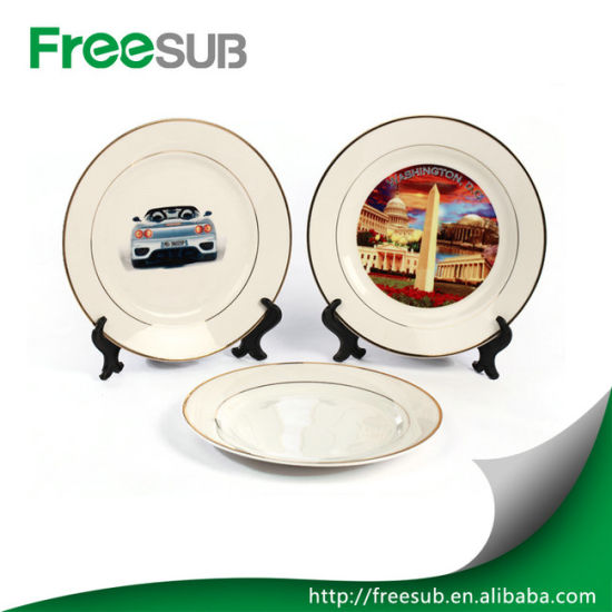 "Printed Logo Ceramic Blank White Color 10"" Wholesale Double Gold Rimmed Plates pictures & photos"