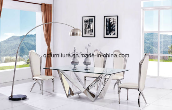China Mirror Glass Design Stainless Steel Base Wedding Table Dining ...