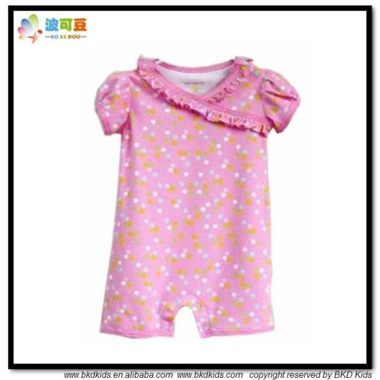 100% Cotton Baby Apparel Bubble Sleeve Baby Playsuits