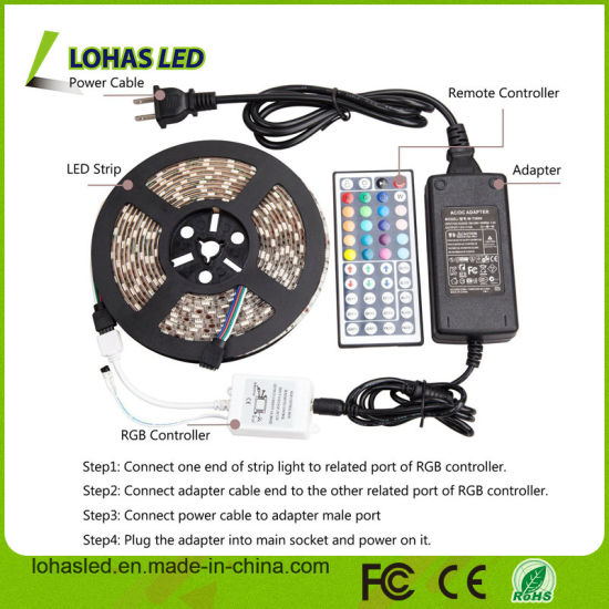12V DC Waterproof 5m 300LEDs SMD 5050 RGB LED Strip Light Kit with Remote Controller and Power Supply pictures & photos
