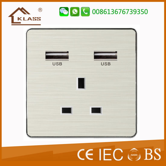 13A USB Electric Wall Power Switched Socket USB Charger
