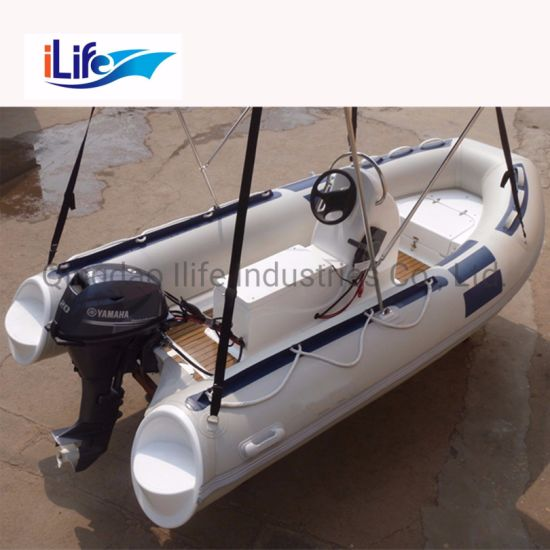 Ilife (CE) 12.8FT 390cm 6 Persons Fiberglass Inflatable Rigid Fishing Rib Boat Sale