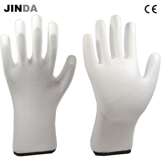 Polyester White PU Palm Coated Household Electric Labor Work Gloves