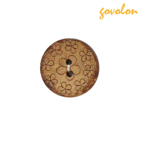 New High Quality 2 Holes Wood Button with Flower Pattern