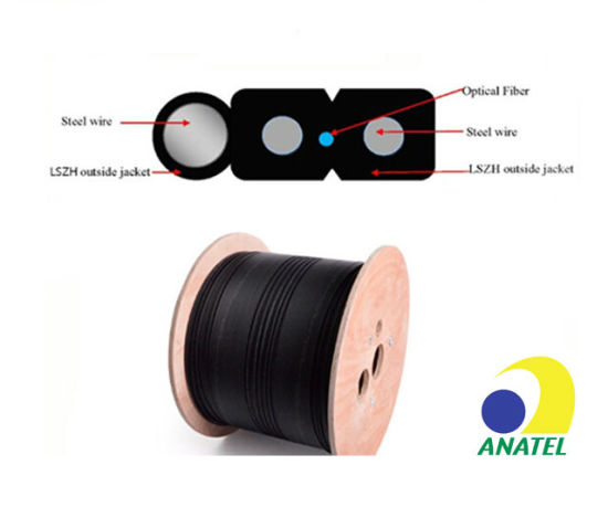 Hot Sale 1/2/4/6/8/12core Single Mode Outdoor to Indoor Steel Wire FTTH Fiber Optic/Optical Drop Cable with Anatel Certificate