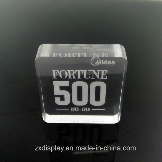 Customized Acrylic Clear Glass Logo Display Piece Block pictures & photos