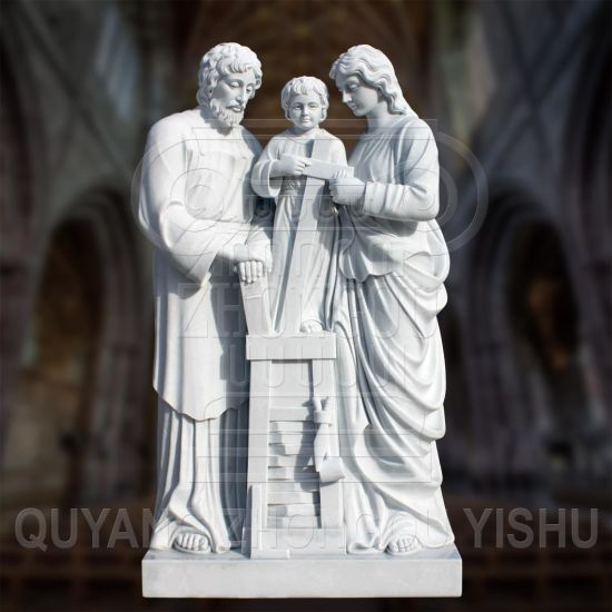 Stone Carving Marble Religious The Holy Family Statue Sculpture for Garden Decoration