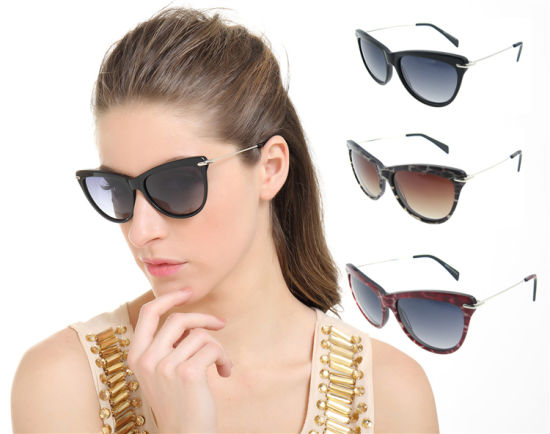 Made in China Name Brand Wholesale Sunglasses with Acetate Frames and Metal Temples pictures & photos