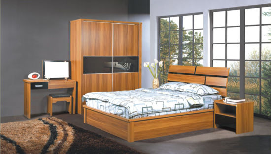 Solid Wood Particle Board with Melamine Bedroom Sets (bed+ ...