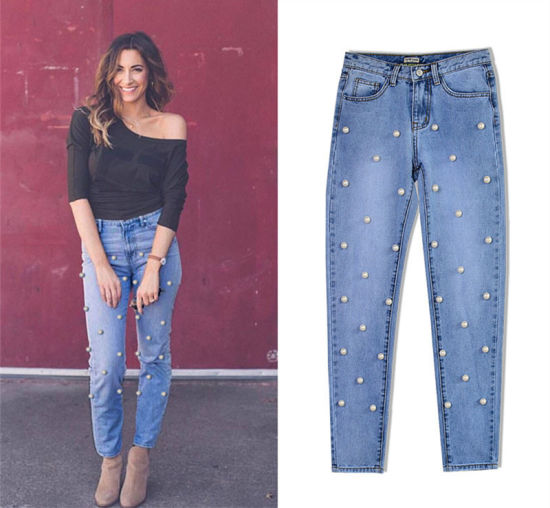 Ladies Fashion Skinny Jeans with Beads