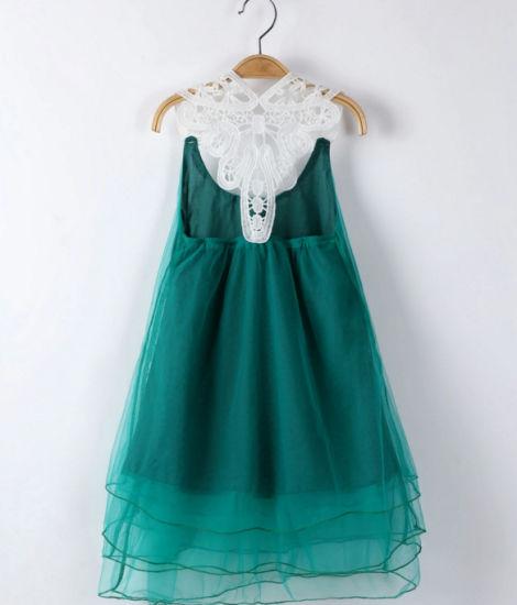 Custom Muslin Sleeveless Dress Young Lady Lace Queen Dress