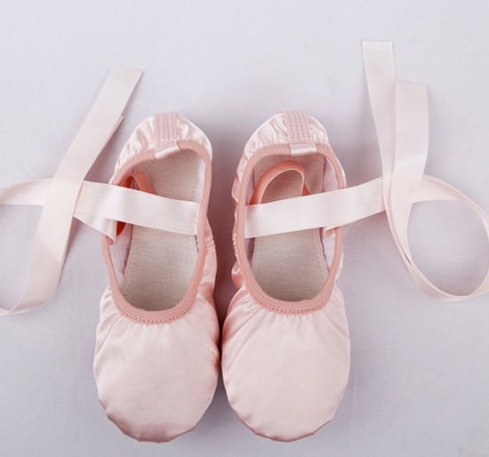 Adult/Kids Shiny Satin Pink Ballet Pointe Shoes