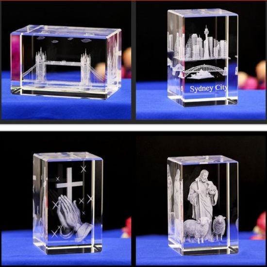 Factory Wholesale Blank Block Glass Crafts Gifts Decoration 3D Laser Engraving Cube K9 Crystal pictures & photos