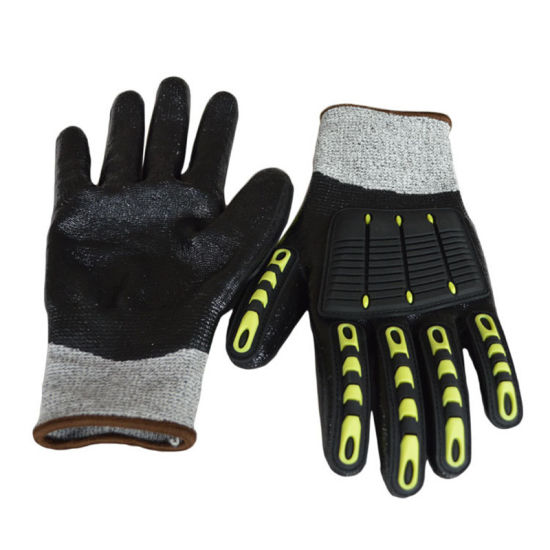 China OEM Hppe PU Coating TPR Anti-Impact Cut-Resistant Industrial Gloves