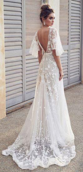 China Boho Bridal Gown Lace A Line Simple Beach Wedding Dress