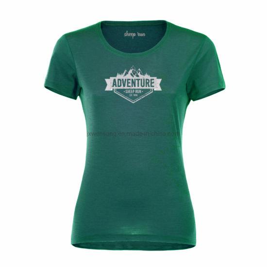 Athletic Hiking Women's Lightweight Short Sleeve New Zealand Breathable Merino Wool Crew Neck T Shirt