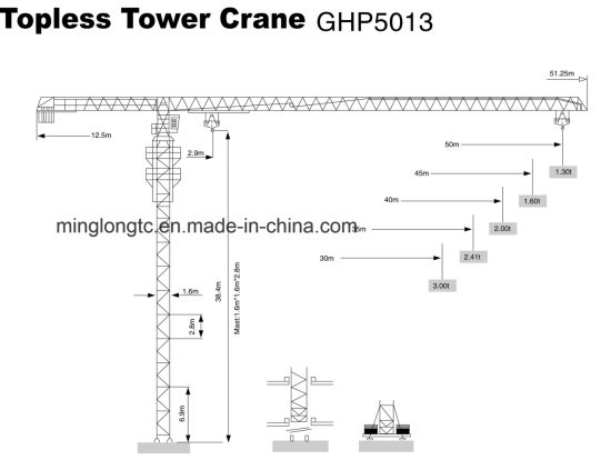 PT5013 Topless Tower Crane-6t